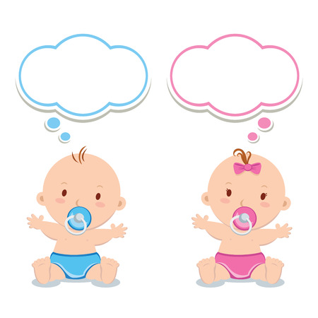 Little baby boy and baby girl. Adorable babies with pacifiers and thinking bubbles. Stock Photo