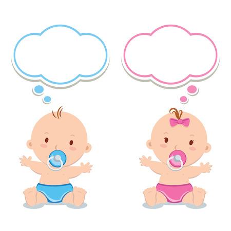 gemelos niÑo y niÑa: Poco niño y niña. adorables bebés con chupetes y burbujas de pensamiento.