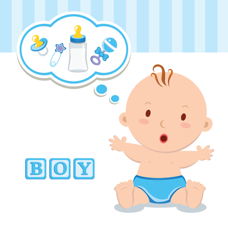 thinking bubble: Little baby boy. Cute baby boy with thinking bubble.