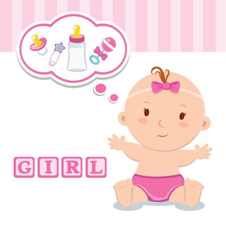 Little baby girl. Beautiful baby girl with thinking bubble. Vettoriali