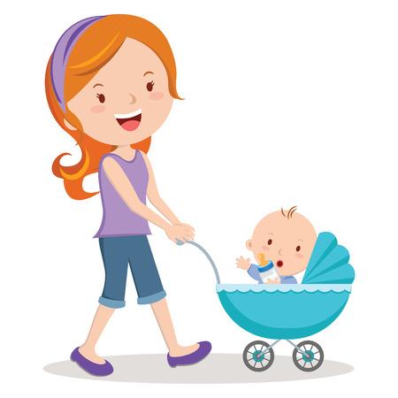 babies: Moeder met baby in de wandelwagen. Jonge moeder duwen baby jongen in kinderwagen met melk fles. Stock Illustratie