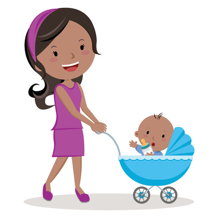 child care: Mother with baby stroller. Young mother pushing baby boy in pram with milk bottle.