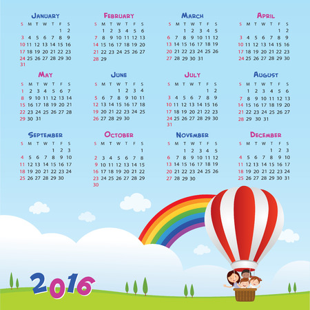 multiracial: 2016 Back to school calendar. Vector illustration of teacher and kids riding a hot air balloon.