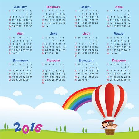 calendario escolar: 2016 Volver al calendario escolar. Ilustración del vector de maestro y los niños que montan un globo de aire caliente.