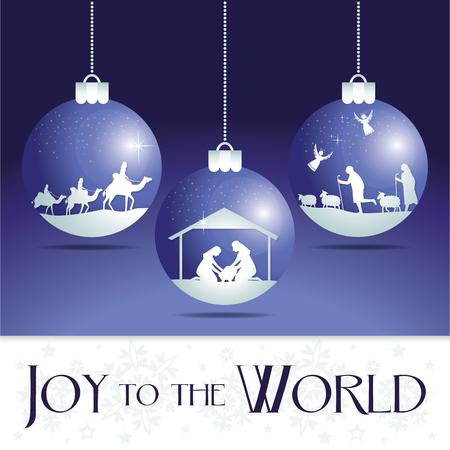 pesebre: Alegría para el mundo. Adornos para árboles de Navidad de la natividad.