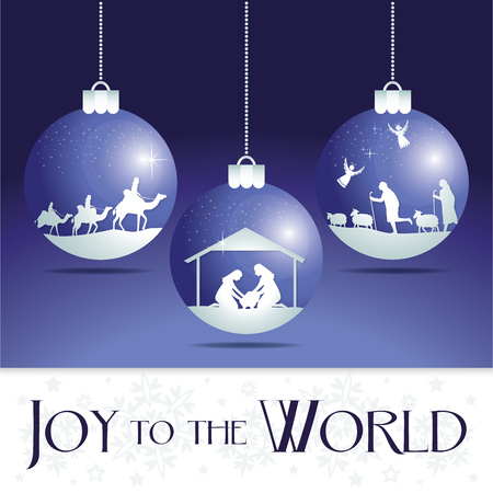 star of bethlehem: Joy to the world. Christmas nativity tree ornaments.