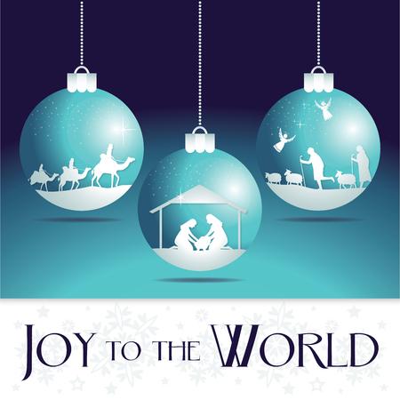 Alegría para el mundo. Adornos para árboles de Navidad de la natividad.