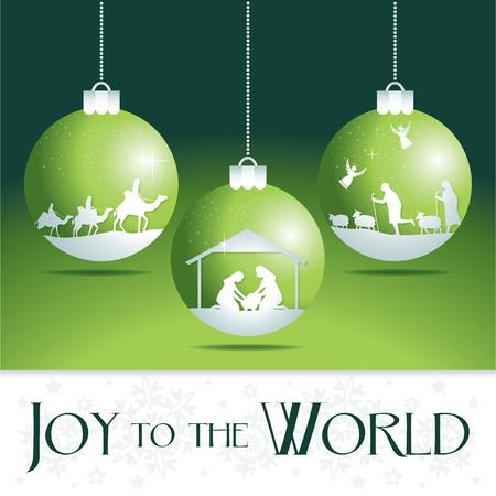 Gioia al mondo. Albero di Natale natività ornamenti. Vettoriali