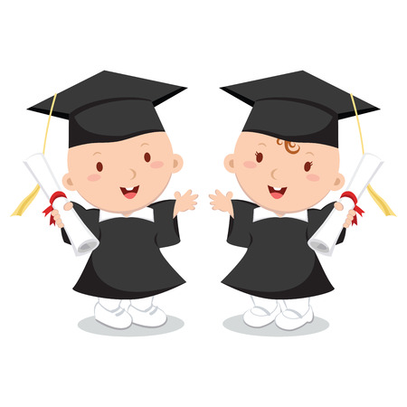 Baby boy and girl wearing graduation gown and cap.