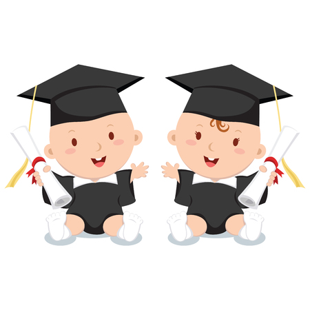 college girl: Early education. Vector illustration of adorable babies in graduation outfit. Illustration