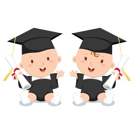 infancia: La educación temprana. Ilustración del vector de bebés adorables en traje de graduación. Vectores
