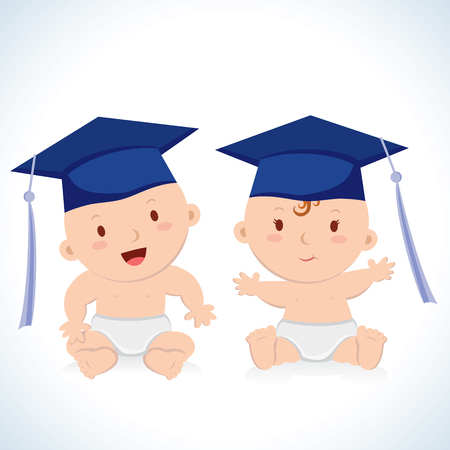 Early education. Vector illustration of babies wearing wearing a graduation caps.