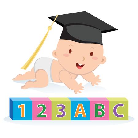infancia: La educación temprana. ilustración vectorial de un niño que llevaba una junta de mortero de bloques de aprendizaje.