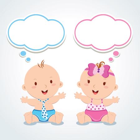 双子。泡を考えると赤ちゃん。かわいい男の子と女の子のベクトル イラスト。