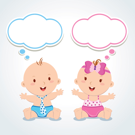 sibling: Twins. Babies with thinking bubbles. Vector illustration of adorable baby boy and girl.