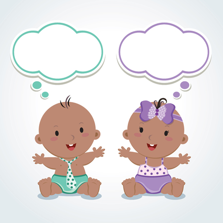 cute baby girl: Twins. Cute babies with thinking bubbles. Vector illustration of adorable baby boy and girl.
