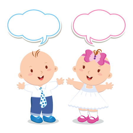 fashion boy: Twins. Baby boy and girl. Vector illustration of adorable baby boy and girl dress up. Illustration