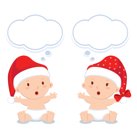 newborn baby: Christmas babies sitting. Little baby boy and girl with thinking bubbles.
