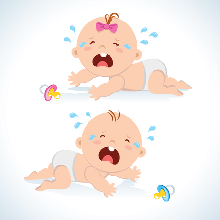 Baby boy and girl crawling and crying