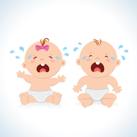 baby illustration: Crying baby boy and baby girl Illustration