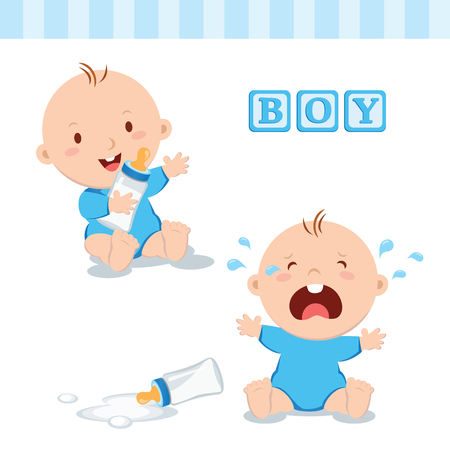 Cute baby boy with milk bottle. Vector illustration of a baby boy holding milk bottle and crying with bottle milk.
