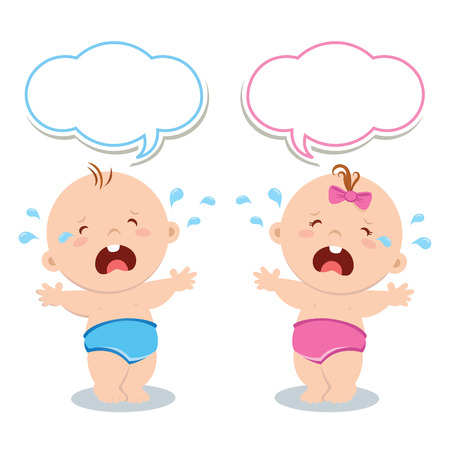 baby illustration: Cute baby boy and baby girl crying Illustration