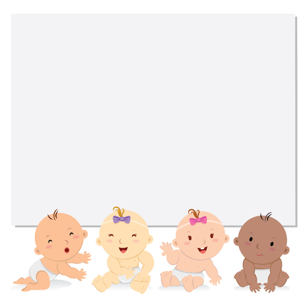 bébés heureux avec le conseil. bébés multiculturels avec bannière blanc.