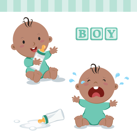 Little baby boy with milk bottle. Vector illustration of a baby boy holding milk bottle and crying with bottle milk. Çizim