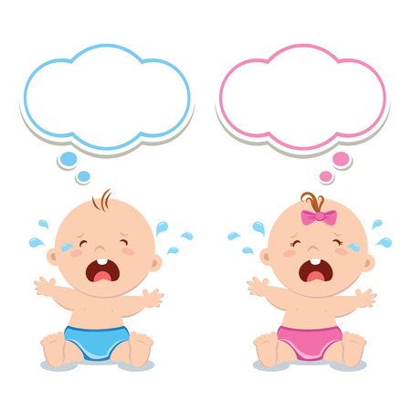 baby girl: Little baby boy and baby girl crying Illustration