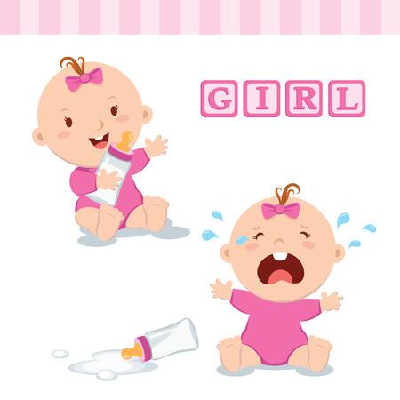 Bebé lindo con la botella de leche. Ilustración vectorial de una botella de leche y el bebé que sostiene llorando con la botella de leche.