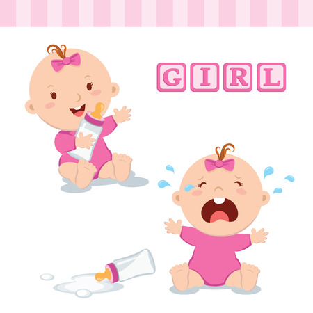 baby illustration: Cute baby girl with milk bottle. Vector illustration of a baby girl holding milk bottle and crying with bottle milk. Illustration