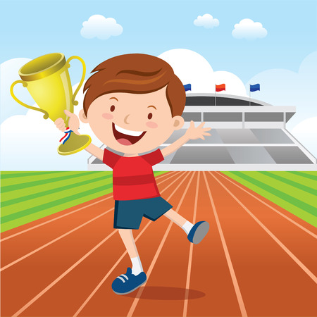 track and field: Boy holding gold trophy in front of sport stadium.