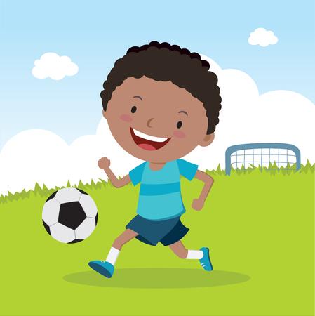 축구 재생 소년입니다. 축구 선수.