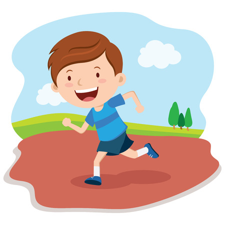 cartoon kid: Boy running race. Marathon runner. Illustration