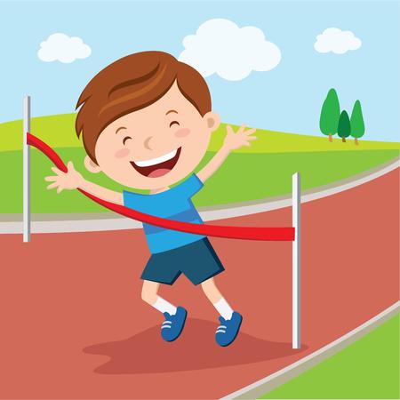 winning the race: Boy crossing finishing line. Boy winning race.