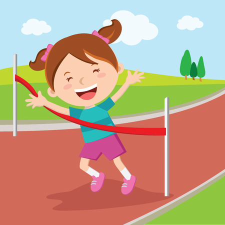 Girl crossing finishing line. Girl winning race.