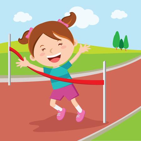 winning the race: Girl crossing finishing line. Girl winning race.