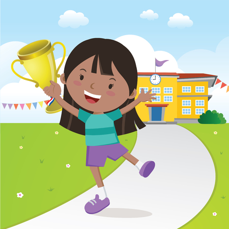 Girl holding gold trophy in front of school building. Illustration