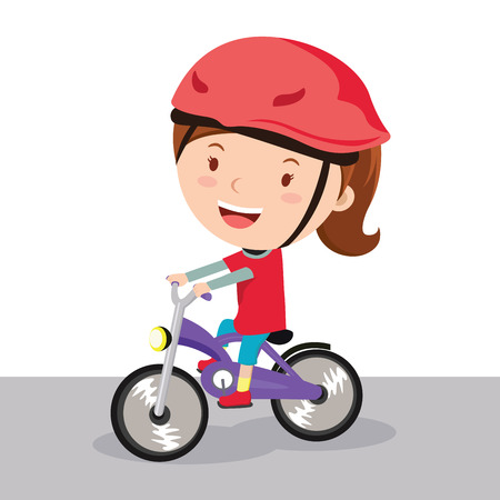 Girl riding bike Illustration