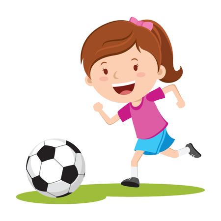 축구 공을 후 실행하는 소녀. 공을 걷어차 기 실행하는 축구 소녀. 일러스트