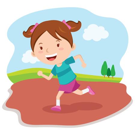 jogging track: Girl running race. Marathon runner. Illustration
