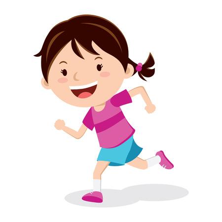 실행중인 소녀. 마라톤 주자 또는 학교 스포츠 하루에 실행하는 소녀.