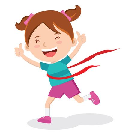 Girl wining race. Amazing race winner! Marathon winner!
