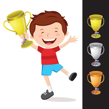 Happy boy holding gold trophy. Vector illustration of gold, silver and Bronze trophy.
