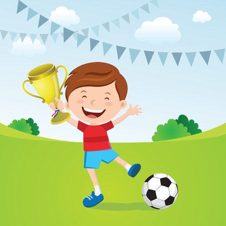 jump for joy: Happy boy win a gold trophy
