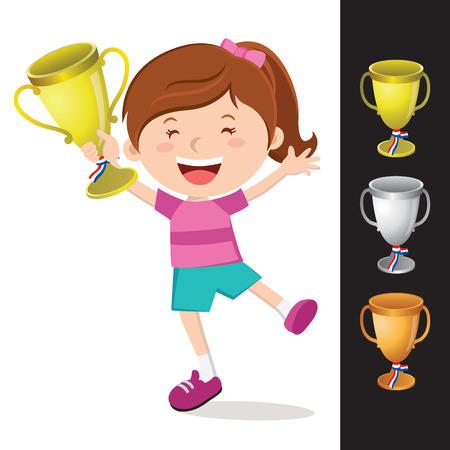 Gelukkig meisje bedrijf gouden trofee. Vector illustratie van goud, zilver en bronzen trofee.