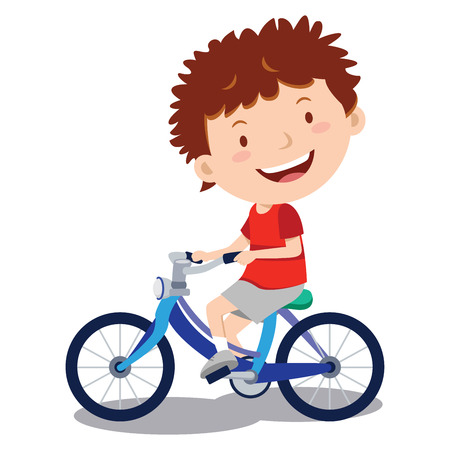 Little boy cycling. Vector illustration of a happy boy cycling a tricycle.