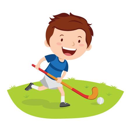 Hockey speler. Vector illustratie van een kleine jongen spelen hockey in een veld.