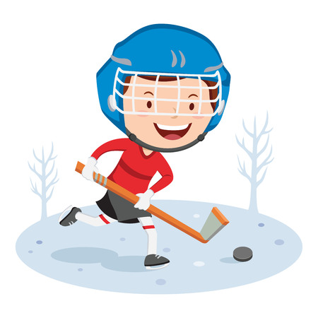 hockey player: Hockey player. Vector illustration of a little boy playing hockey.