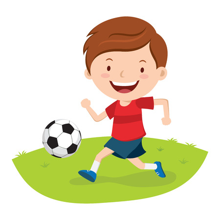 kicking ball: Little boy playing soccer. Boy kicking a soccer  ball.